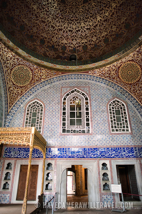 The Privy Chamber of Sultan Murad III was constructed in 1578 and designed by Chief Architect Sinan. It is decorated with ornate Iznik tiles from the 16th century and has been used since as the official and private apartment of the Sultan. The Imperial Harem was the inner sanctum of the Topkapi Palace where the Sultan and his family lived. Standing on a peninsular overlooking the Bosphorus Strait and Golden Horn, Topkapi Palace was the primary residence of the Ottoman sultans for approximately 400 years (1465–1856) of their 624-year reign.