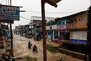 Huepetuhe is one of the largest mining areas in the Peruvian Amazon. Huepetuhe, Peru.