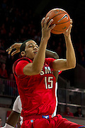 DALLAS, TX - JANUARY 4: Cannen Cunningham #15 of the SMU Mustangs drives to the basket against the Connecticut Huskies on January 4, 2014 at Moody Coliseum in Dallas, Texas.  (Photo by Cooper Neill) *** Local Caption *** Cannen Cunningham