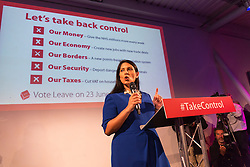 © Licensed to London News Pictures. 04/06/2016. LONDON, UK.  PRITI PATEL speaking at a Vote Leave rally at Forman's Fish Island in east London. Vote Leave is the official campaign for a Leave vote (Brexit) in the EU Referendum that will take place in the United Kingdom on the 23rd June 2016.  Photo credit: Vickie Flores/LNP