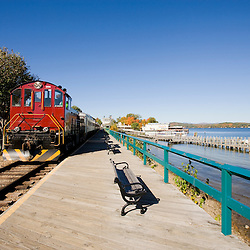 Scenic railroad at Weirs Beach in Laconia, New Hampshire.  Lake Winnipesauke.