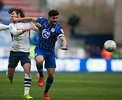 Sam Morsy of Wigan Athletic hits Ben Pearson of Preston North End (L) in the face - Mandatory by-line: Jack Phillips/JMP - 08/02/2020 - FOOTBALL - DW Stadium - Wigan, England - Wigan Athletic v Preston North End - English Football League Championship