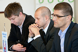 Jure Pezdirc, Dejan Kontrec and Matjaz Rakovec, president of HZS, at HZS Press conference about official launch of tickets sale for 2012 IIHF Ice Hockey World Championship Division I Group A that will be at new arena SRC Stozice, on Januar 18, 2012 at Hala Tivoli, Ljubljana, Slovenia. (Photo By Matic Klansek Velej / Sportida)