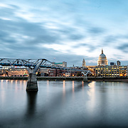 The Thames, with the Millenial Bridge and dome of St Paul's Cathedral, shortly after sunset.