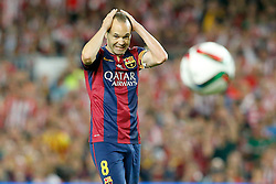 30.05.2015, Camp Nou, Barcelona, ESP, Copa del Rey, Athletic Club Bilbao vs FC Barcelona, Finale, im Bild FC Barcelona's Andres Iniesta // during the final match of spanish king's cup between Athletic Club Bilbao and Barcelona FC at Camp Nou in Barcelona, Spain on 2015/05/30. EXPA Pictures © 2015, PhotoCredit: EXPA/ Alterphotos/ Acero<br /> <br /> *****ATTENTION - OUT of ESP, SUI*****