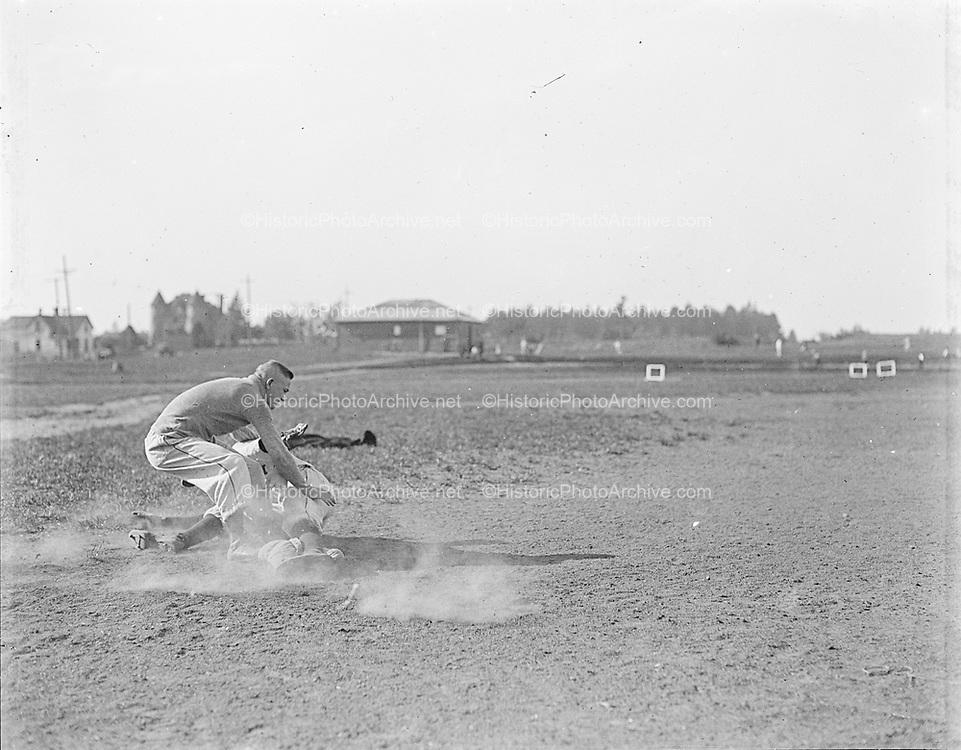 """Al Roth & Bob Snodgrass 1916"" (baseball, runner landing at base)"