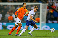 Netherlands Defender Virgil van Dijk (Liverpool) feels he is unfairly challenged by England forward Harry Kane (Tottenham) during the UEFA Nations League semi-final match between Netherlands and England at Estadio D. Afonso Henriques, Guimaraes, Portugal on 6 June 2019.
