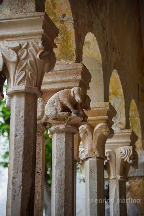 Dubrovnik. The Franciscan monastery's cloister built in Romanesque-Gothic style with arches, 120 columns and 12 massive pilasters and a promenade. The capitals on the colonnade of double, ornamented hexaphoras are all different showing various geometric, plant-, human- and animal-like figures.