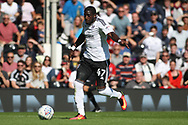 Fulham Forward Aboubakar Kamara in action. EFL Skybet football league championship match, Fulham  v Norwich city at Craven Cottage in London on Saturday 5th August 2017.<br /> pic by Steffan Bowen, Andrew Orchard sports photography.
