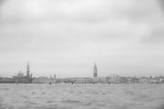 Venice as seen through a rain soaked window from a vaporetto.
