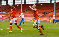 Blackpool's Mark Cullen celebrates scoring his side's first goal <br /> <br /> Photographer Alex Dodd/CameraSport<br /> <br /> The EFL Sky Bet League One - Blackpool v Portsmouth - Saturday August 11th 2018 - Bloomfield Road - Blackpool<br /> <br /> World Copyright © 2018 CameraSport. All rights reserved. 43 Linden Ave. Countesthorpe. Leicester. England. LE8 5PG - Tel: +44 (0) 116 277 4147 - admin@camerasport.com - www.camerasport.com