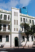 Old Eclectic style building in Rothschild Boulevard, Tel Aviv, Israel. <br /> UNESCO has declared Tel Aviv an international heritage due to the abundance of the Bauhaus architectural style