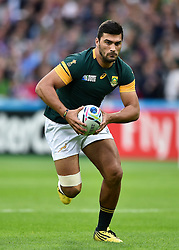 Damian de Allende of South Africa in possession - Mandatory byline: Patrick Khachfe/JMP - 07966 386802 - 07/10/2015 - RUGBY UNION - The Stadium, Queen Elizabeth Olympic Park - London, England - South Africa v USA - Rugby World Cup 2015 Pool B.
