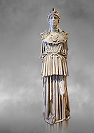 A Roman statue of the Parthenon Athena, a Roman copy of the great statue from the Parthenon in Athens. Louvre Museum, Paris. .<br /> <br /> If you prefer to buy from our ALAMY STOCK LIBRARY page at https://www.alamy.com/portfolio/paul-williams-funkystock/greco-roman-sculptures.html- Type -    Louvre    - into LOWER SEARCH WITHIN GALLERY box - Refine search by adding a subject, place, background colour,etc.<br /> <br /> Visit our CLASSICAL WORLD HISTORIC SITES PHOTO COLLECTIONS for more photos to download or buy as wall art prints https://funkystock.photoshelter.com/gallery-collection/The-Romans-Art-Artefacts-Antiquities-Historic-Sites-Pictures-Images/C0000r2uLJJo9_s0c