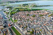 Nederland, Zeeland, Zeeuws-Vlaanderen, 19-10-2014; centrum Terneuzen, overzicht met gracht en zeesluizen boven in beeld.<br /> Downtown Terneuzen.<br /> luchtfoto (toeslag op standard tarieven);<br /> aerial photo (additional fee required);<br /> copyright foto/photo Siebe Swart