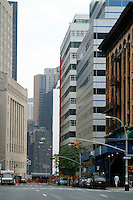 16 August 2002:  View one year later of the same street where smoke once filled the space between buildings following the Terrorist attack on the America's.  Lower Manhattan, NY. Area surrounding ground zero where the World Trade Centers WTC once stood only hours after they fell to the ground in New York.  Islamic terrorist Osama bin Laden declares The Jihad or Holy War against The United States of America on September 11, 2001. Headline news photos available for editorial use.