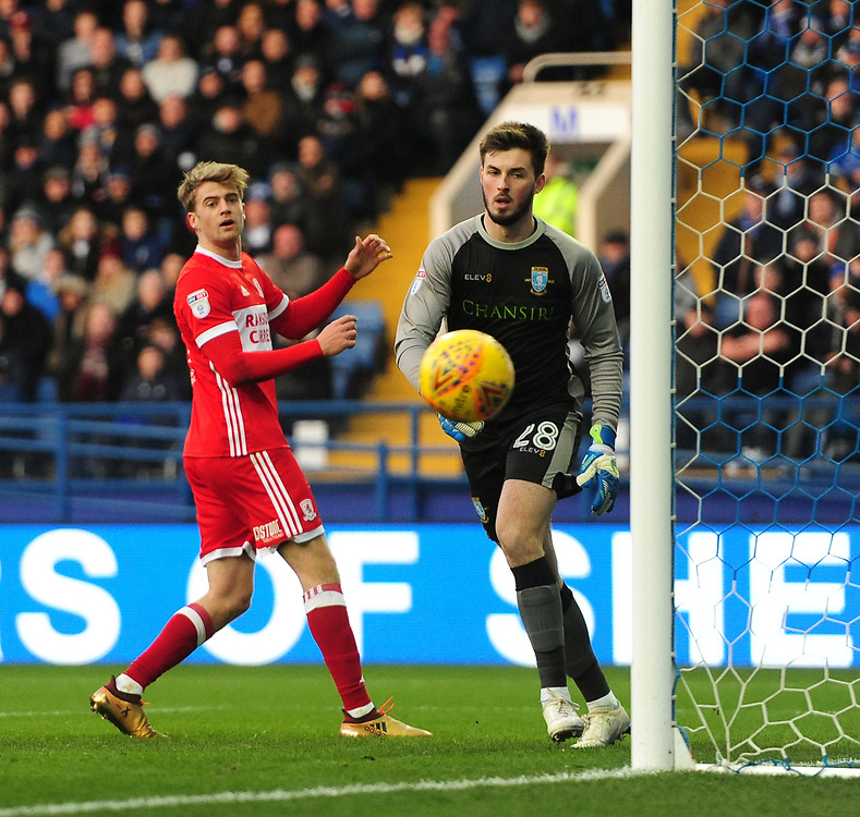 Middlesbrough's Patrick Bamford, left, watches a his header goes wide of the post<br /> <br /> Photographer Chris Vaughan/CameraSport<br /> <br /> The EFL Sky Bet Championship - Sheffield Wednesday v Middlesbrough - Saturday 23rd December 2017 - Hillsborough - Sheffield<br /> <br /> World Copyright © 2017 CameraSport. All rights reserved. 43 Linden Ave. Countesthorpe. Leicester. England. LE8 5PG - Tel: +44 (0) 116 277 4147 - admin@camerasport.com - www.camerasport.com