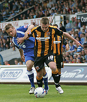 Photo: Lee Earle.<br /> Cardiff City v Hull City. Coca Cola Championship. 28/04/2007.Hull's Steve McPhee (R) battles with Stephen McPhail.
