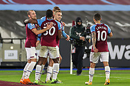 Goal 1-0 Jarrod Bowen (20) of West Ham United scores a goal and celebrates during the Premier League match between West Ham United and West Bromwich Albion at the London Stadium, London, England on 19 January 2021.