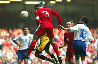Photo: Scott Heavey<br />Wales V Azerbaijan. 29/03/03.<br />Gary Speed wins the header and makes it 2-0 during this afternoons Euro 2004 Group 9 qualifying match at the Millenium stadium in Cardiff.