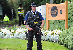 © London News Pictures. 05/09/2014. Newport, UK. <br /> Armed Police at the NATO (North Atlantic Treaty Organisation ) summit at Celtic Manor Resort, Newport, South Wales. Photo credit: Jeff Thomas/LNP