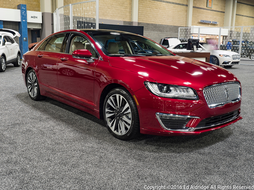 CHARLOTTE, NC, USA - NOVEMBER 17, 2016: Lincoln MKZ on display during the 2016 Charlotte International Auto Show at the Charlotte Convention Center in downtown Charlotte.