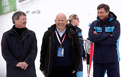 Stane Valant, Janez Kocijancic and Borut Pahor during Medal ceremony after Flying Hill Team Second Round at 4th day of FIS Ski Flying World Championships Planica 2010, on March 21, 2010, Planica, Slovenia.  (Photo by Vid Ponikvar / Sportida)