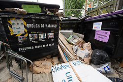 Uncollected recycling around bins in Harringay, north London.  Picture date: Sunday May 10, 2020. Photo credit should read: Matt Crossick/Empics