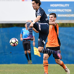 BRISBANE, AUSTRALIA - NOVEMBER 12: Pierce Waring of the Victory controls the ball during the round 1 Foxtel National Youth League match between the Brisbane Roar and Melbourne Victory at Spencer Park on November 12, 2016 in Brisbane, Australia. (Photo by Patrick Kearney/Brisbane Roar)