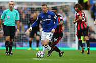Wayne Rooney of Everton  shields the ball from Jermain Defoe of Bournemouth. Premier league match, Everton vs Bournemouth at Goodison Park in Liverpool, Merseyside on Saturday 23rd September 2017.<br /> pic by Chris Stading, Andrew Orchard sports photography.