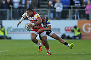 Gloucester wing David Halaifonua (11) carrying the ball through a tackle during the Aviva Premiership match between Bath Rugby and Gloucester Rugby at the Recreation Ground, Bath, United Kingdom on 29 October 2017. Photo by Gary Learmonth.