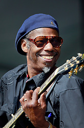 02 May 2014. New Orleans, Louisiana.<br /> Walter 'Wolfman' Washington at the New Orleans Jazz and Heritage Festival. <br /> Photo; Charlie Varley/varleypix.com