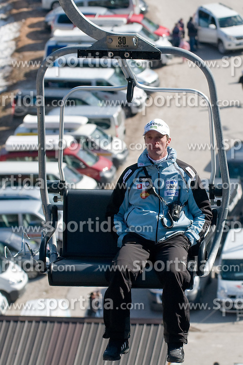 Matjaz Zupan, head coach of Team Slovenia, on a ski lift before Flying Hill Individual Final Round at 4th day of FIS Ski Jumping World Cup Finals Planica 2011, on March 20, 2011, Planica, Slovenia. (Photo By Matic Klansek Velej / Sportida.com)
