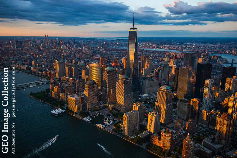 NYC downtown aerial of the Freedom Tower, 1 World Trade Center. New York, USA