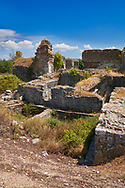 Roman Baths of Faustina established by Faustina the Younger, wife of the Emperor Marcus Aurelius (161-180 AD). Miletus Archaeological Site, Anatilia, Turkey. .<br /> <br /> If you prefer to buy from our ALAMY PHOTO LIBRARY  Collection visit : https://www.alamy.com/portfolio/paul-williams-funkystock/miletus-site-turkey.html<br /> <br /> Visit our CLASSICAL WORLD HISTORIC SITES PHOTO COLLECTIONS for more photos to download or buy as wall art prints https://funkystock.photoshelter.com/gallery-collection/Classical-Era-Historic-Sites-Archaeological-Sites-Pictures-Images/C0000g4bSGiDL9rw