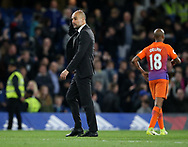 Manchester City's Pep Guardiola looks on dejected at the final whistle during the Premier League match at the Stamford Bridge Stadium, London. Picture date: April 5th, 2017. Pic credit should read: David Klein/Sportimage