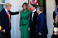 President Donald Trump and the First Lady Melania Trump  welcomes King Abdullah II and Queen Rania of Jordan.<br />Photo by Dennis Brack