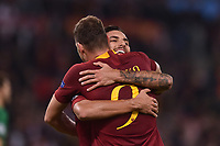Celebrations after score of Edin Dzeko Roma, with Lorenzo Pellegrini.<br /> Roma 23-10-2018 Stadio Olimpico<br /> Football Calcio UEFA Champions League 2018/2019, Group G. <br /> AS Roma - CSKA Moscow<br /> Foto Antonietta Baldassarre / Insidefoto