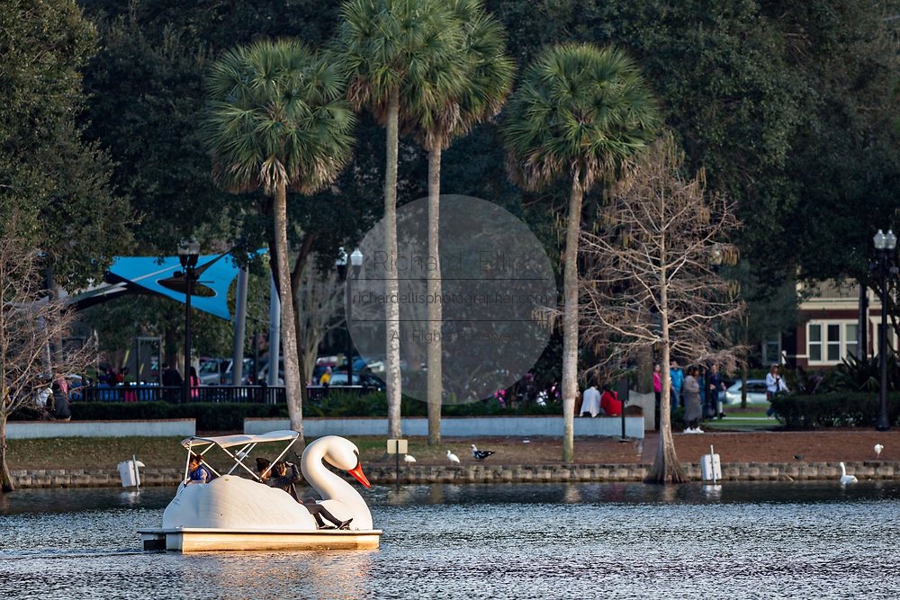 Tourists paddle Swan boats around Lake Eola Park in Orlando, Florida. Lake Eola Park is located in the heart of Downtown Orlando and home to the Walt Disney Amphitheater.