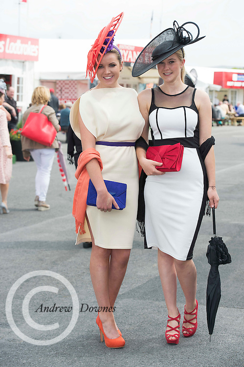 31/07/2014 Repro Free Lorna Gibson Barabazon Mulligan  and Carolin Hilker from Germany at the Anthony Ryans Best Dressed Ladies day  at the Galway Races Summer Festival <br />  .Photo:Andrew Downes