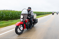 Roger Green riding his 1937 Harley-Davidson ULH Flathead in the Cross Country Chase motorcycle endurance run from Sault Sainte Marie, MI to Key West, FL (for vintage bikes from 1930-1948). Stage 3 from Milwaukee, WI to Urbana, IL. USA. Sunday, September 8, 2019. Photography ©2019 Michael Lichter.
