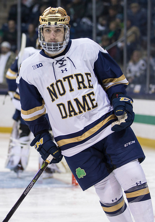 March 10, 2018:  Notre Dame defenseman Dennis Gilbert (4) during NCAA Hockey game action between the Notre Dame Fighting Irish and the Penn State Nittany Lions at Compton Family Ice Arena in South Bend, Indiana.  Notre Dame defeated Penn State 3-2.  John Mersits/CSM