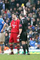 Photo: Mark Stephenson.<br /> Birmingham City v Cardiff City. Coca Cola Championship. 04/03/2007.Cardiff's Joe Ledley get a yellow card for a bad tackel