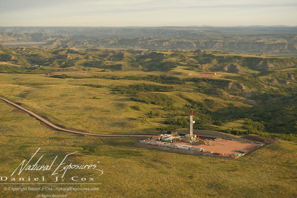 Oil development in the Bakken Formation along the bluffs of the Little Missouri River, North Dakota.