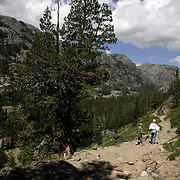 Hikers and backpackers circumvent the Shadow Lake Trail in the Ansel Adams Wilderness near Mammoth Lakes, California.