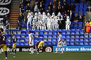 Notts County fans look on dressed up in fancy dress as Star Wars Stormtroopers. Skybet football league one match, Tranmere Rovers v Notts county at Prenton Park in Birkenhead, England on Saturday 15th March 2014.<br /> pic by Chris Stading, Andrew Orchard sports photography.