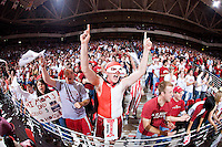 FAYETTEVILLE, AR - FEBRUARY 2:   Arkansas Razorback student section cheers during a game against the Florida Gators at Bud Walton Arena on February 2, 2008 in Fayetteville, Arkansas.  The Razorbacks defeated the Gators 80-61.  (Photo by Wesley Hitt/Getty Images) *** Local Caption ***