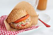 Tuna salad sandwich with tomato
