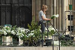 Final preparations take place at York Minister ahead of the wedding of singer Ellie Goulding to Caspar Jopling.