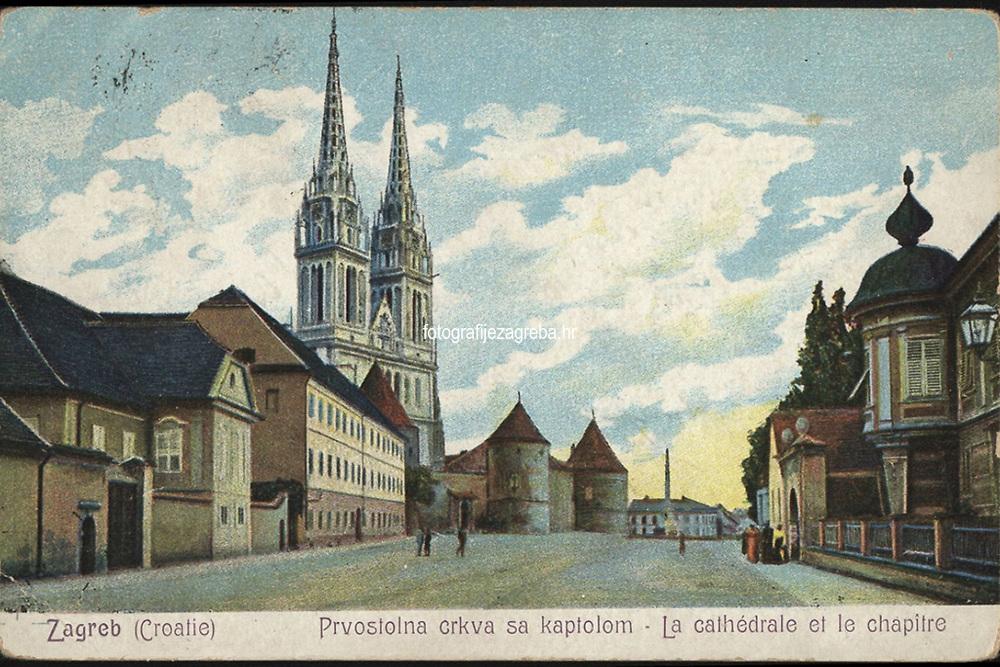 Zagreb (Croatie) : Prvostolna crkva sa kaptolom = La cathédrale et le chaptire. <br /> <br /> ImpresumZagreb : Naklada M. Iaklin, [1906].<br /> Materijalni opis1 razglednica : tisak ; 9 x 13,7 cm.<br /> NakladnikNaklada M. Jaklin<br /> Vrstavizualna građa • razglednice<br /> ZbirkaGrafička zbirka NSK • Zbirka razglednica<br /> ProjektPozdrav iz Zagreba • Pozdrav iz Hrvatske<br /> Formatimage/jpeg<br /> PredmetZagreb –– Kaptol<br /> Katedrala Uznesenja Marijina (Zagreb)<br /> Jezikhrvatski<br /> SignaturaRZG-KAP-26<br /> Obuhvat(vremenski)20. stoljeće<br /> NapomenaRazglednica je putovala 1906. godine. • U donjem lijevom rubu poleđine razglednice otisnuta je abrevijacija S. D. M. (S. D. Modiano Trieste).<br /> PravaJavno dobro<br /> Identifikatori000955349<br /> NBN.HRNBN: urn:nbn:hr:238:494795 <br /> <br /> Izvor: Digitalne zbirke Nacionalne i sveučilišne knjižnice u Zagrebu